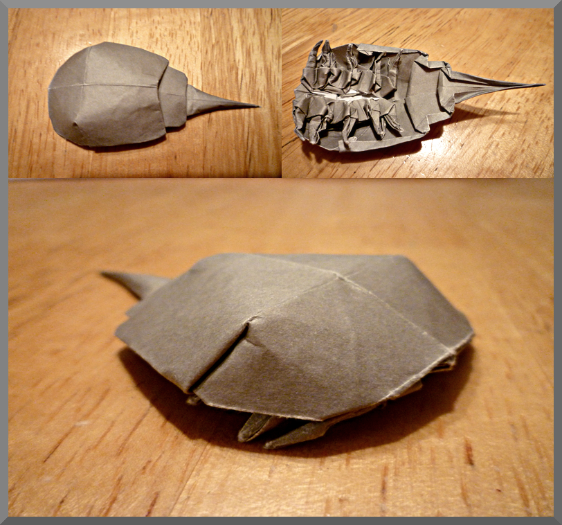 Origami horseshoe crab by zapper slapper on deviantart for How to make a horseshoe