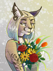 Caracal furry female with flowers by Pixezure