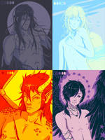 OC: Limited Palette Bishies by AvareonArt
