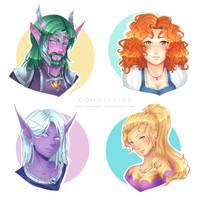 Commission WoW : Characters' Headshots by AvareonArt