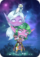 Commission WoW : Darlair and Faradael by AvareonArt