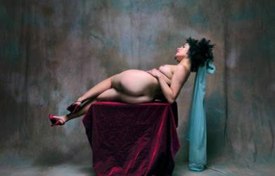 Lying in red shoes by JREKAS