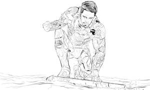 Ironman Pin Up illustration Lineart by Justinlite