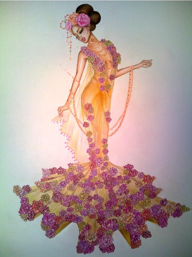 Fashion Sketch Dress Roses By Twishh On Deviantart