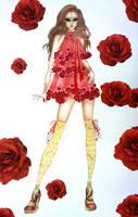 Fashion Sketch Dress Roses by TwISHH