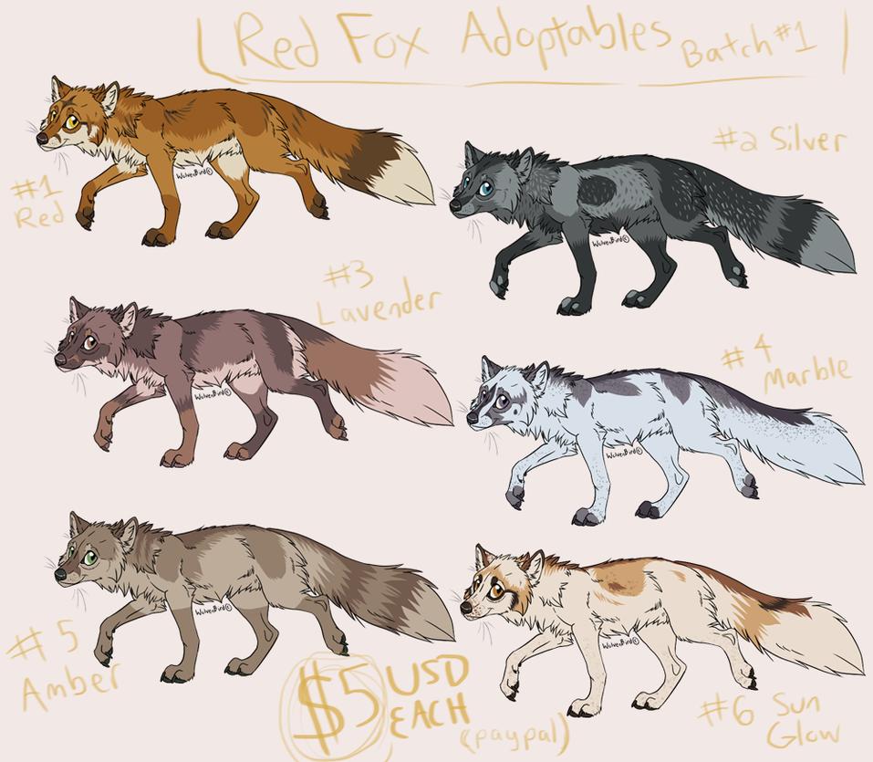 Fox Adoptables Batch #1 [OPEN] by WolvenBird