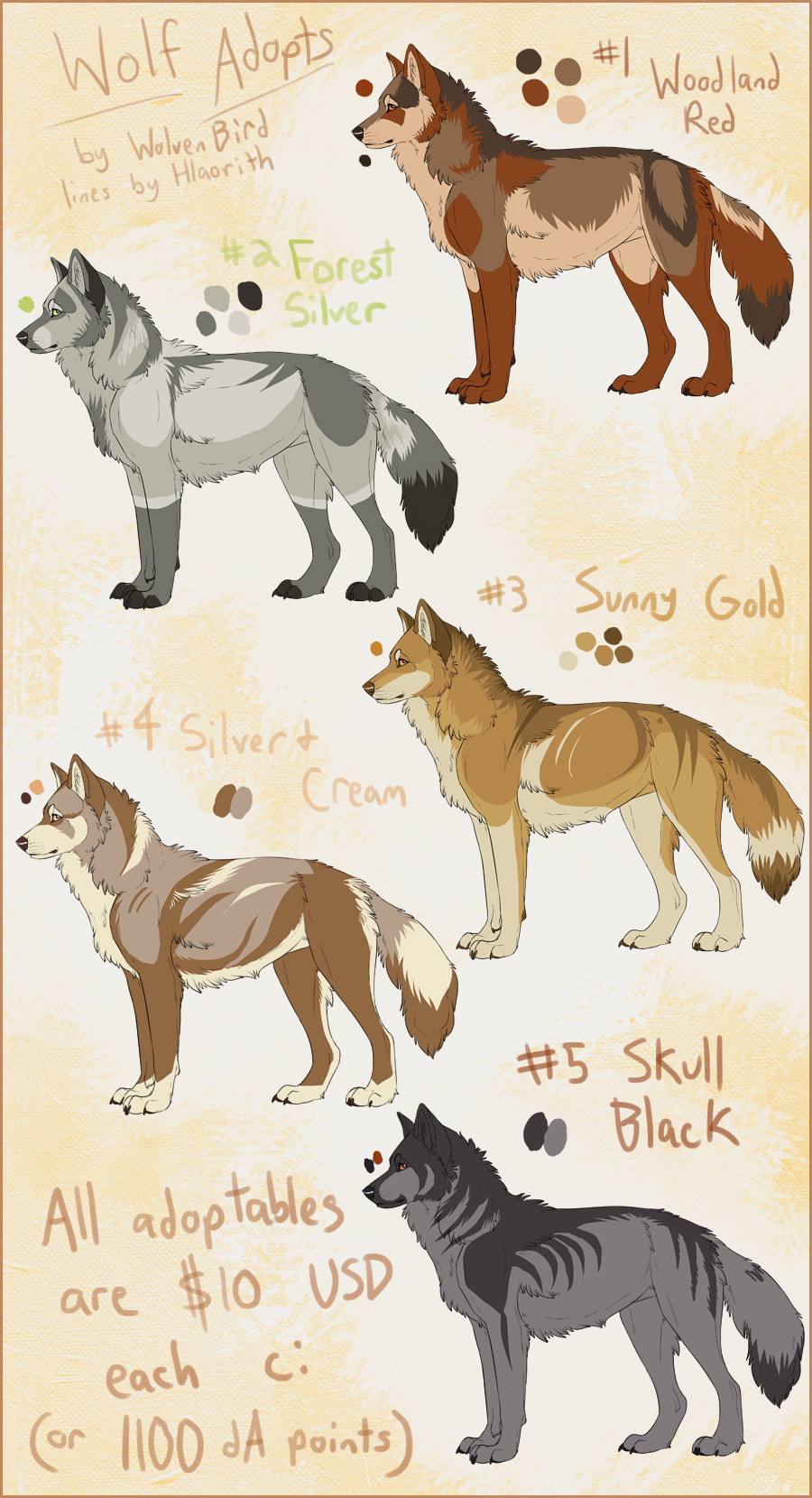 wolf adoptables batch 1 closed by wolvenbird on deviantart. Black Bedroom Furniture Sets. Home Design Ideas