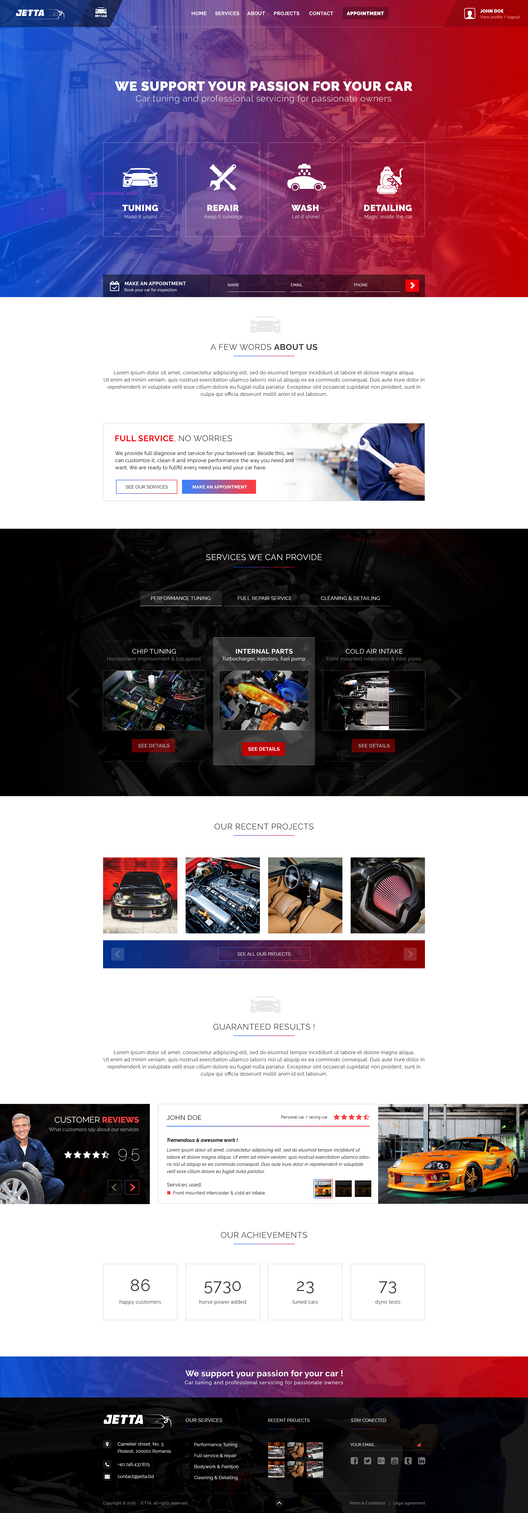 Car Tuning Service website design