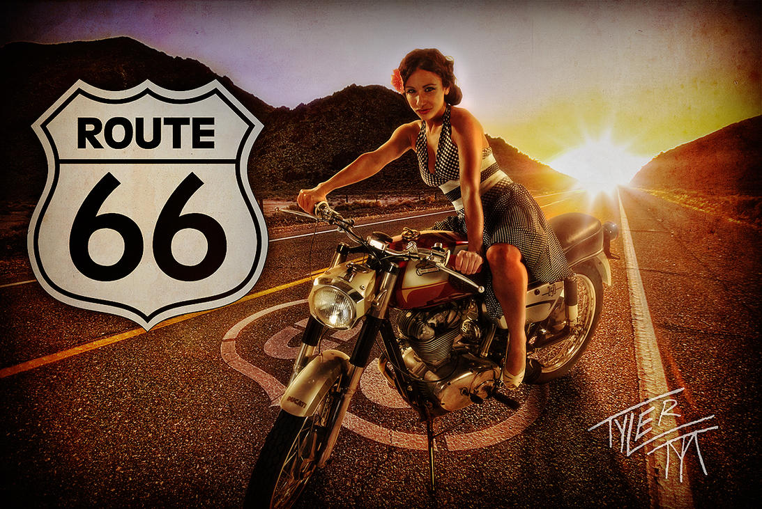 Route 66 by ... Vintage Pin Up Wallpaper
