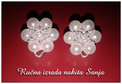 White earrings by Sanjabeads