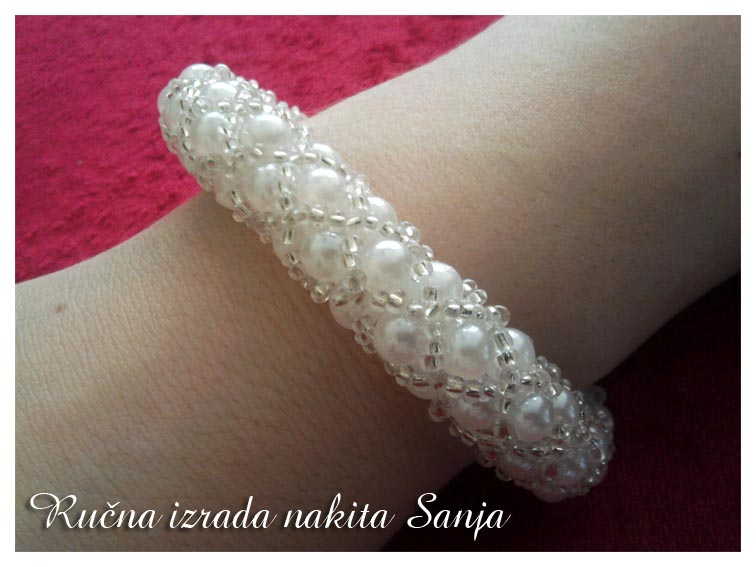 White  tubular netting bracelet by Sanjabeads