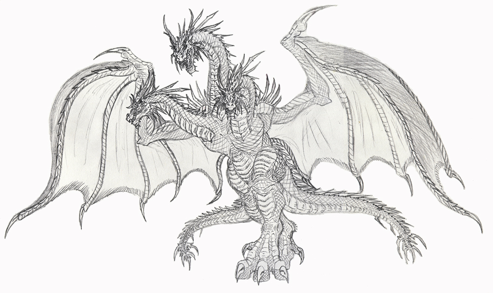 pictures of mecha king ghidorah drawing