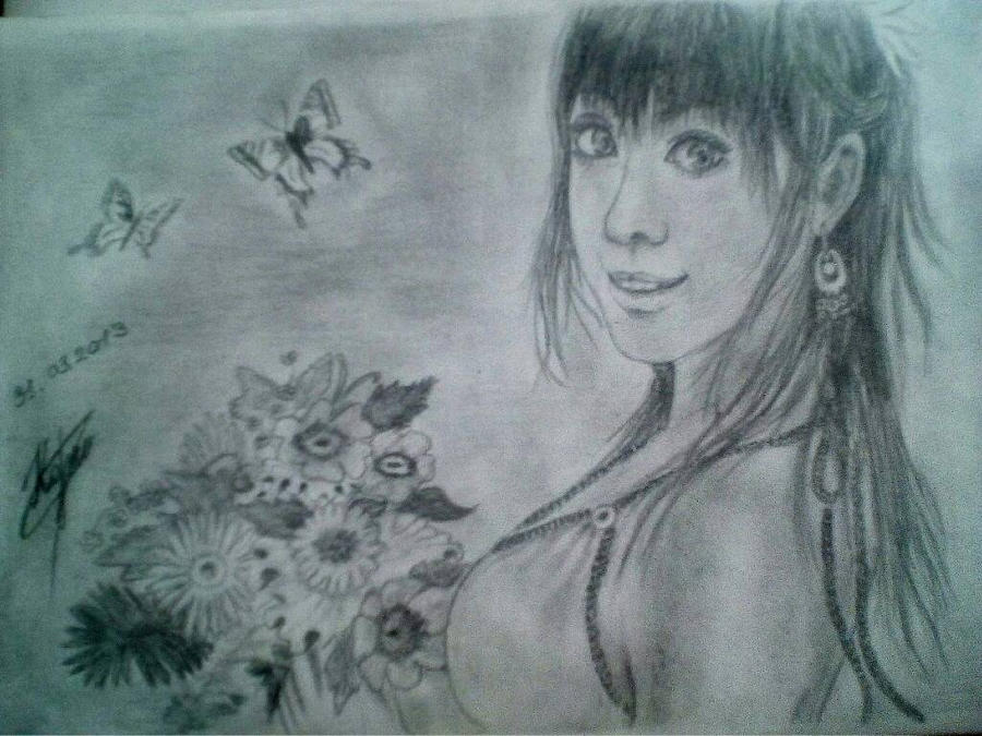 Girl with flowers by SvetikKorzh