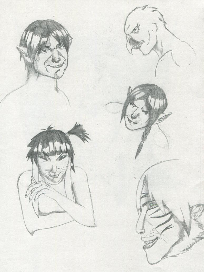 Head portrait sketches by dreadwolfclaw