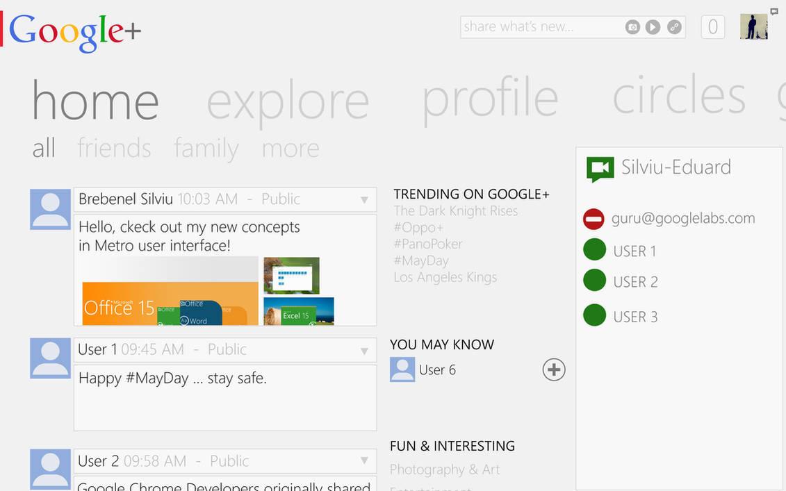 Metro UI : Google+ (w.i.p) by Brebenel-Silviu