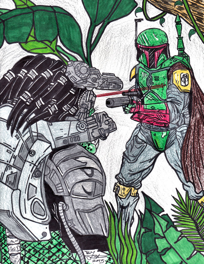 Predator Vs. Boba Fett (Color) by AudioHomicide