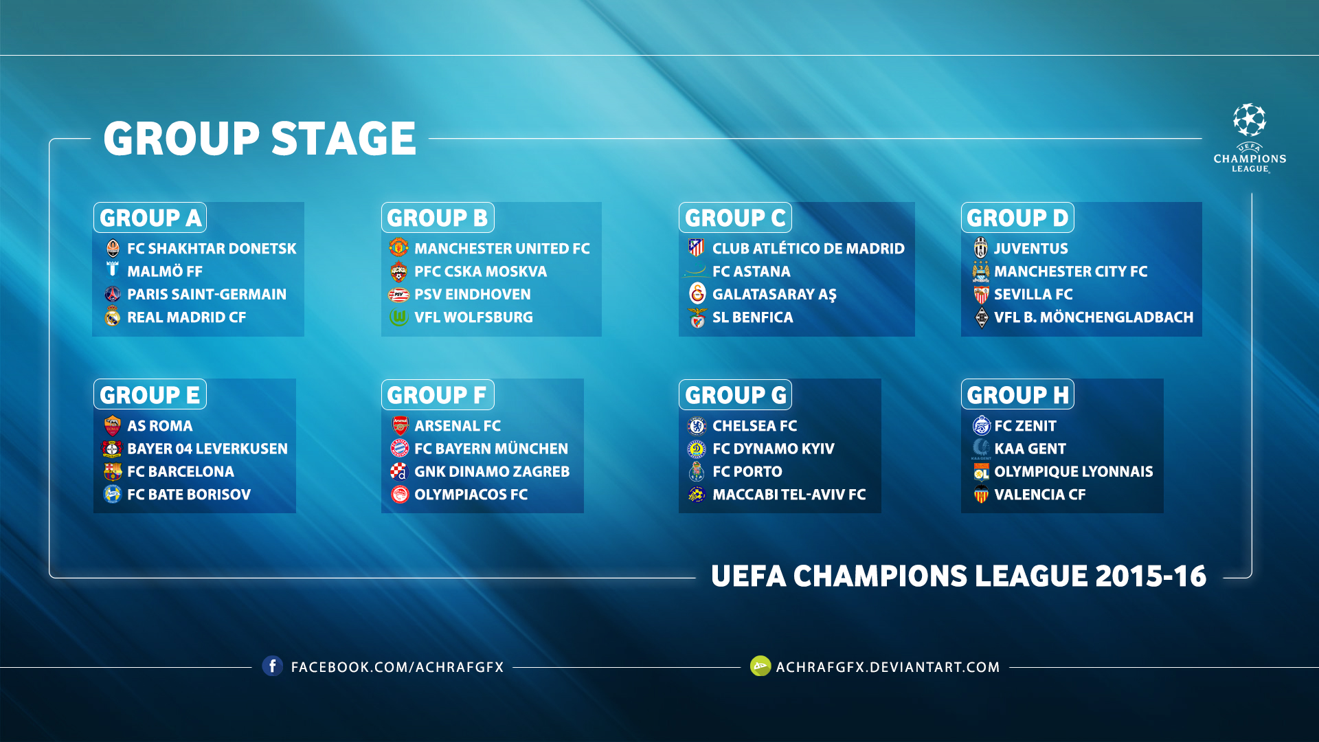UEFA CHAMPIONS LEAGUE GROUP STAGE 2015 16 By Achrafgfx