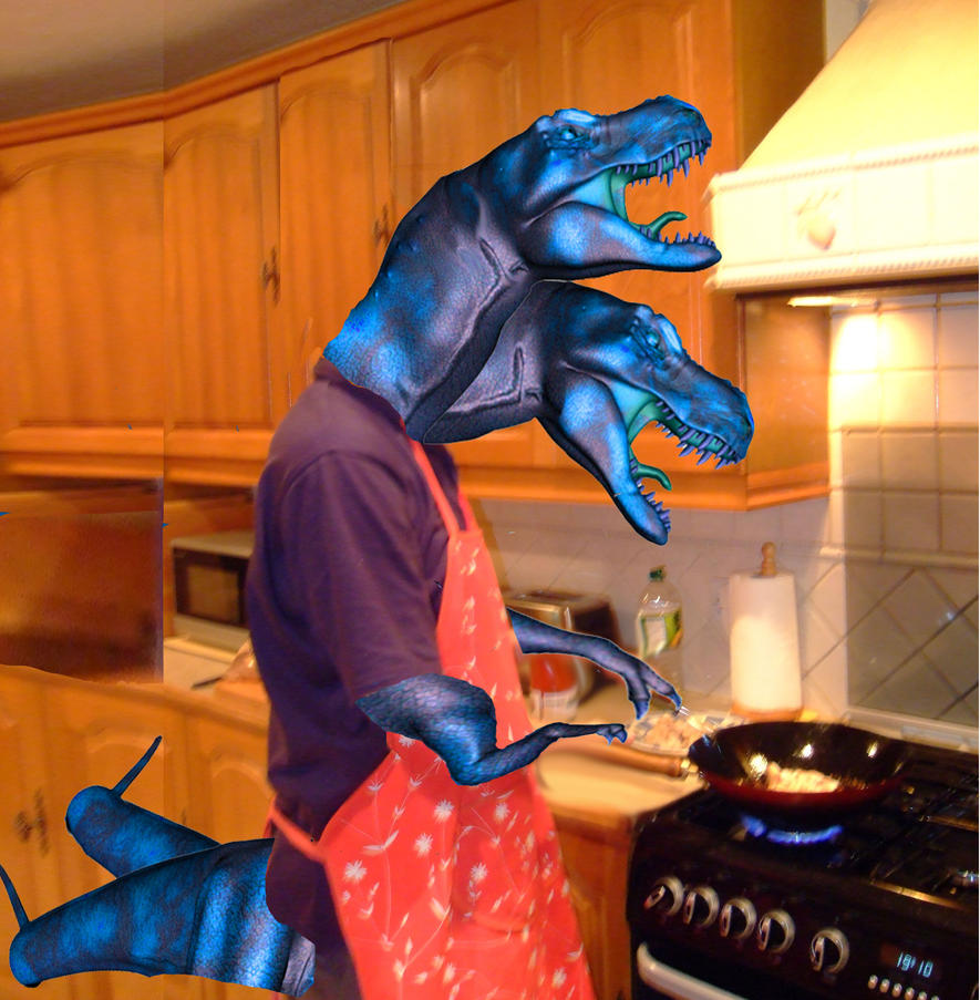 Blue Dinosuar Cooking by Manipulate-It