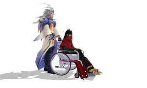 Kuja helping Vincent Valentine mmd by Sephikuji