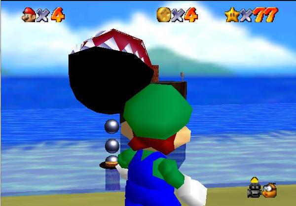 Super Mario Hack 64 Luigi and Chainchomp on Water by Sephikuji