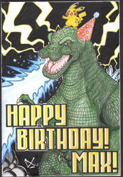 Godzilla Pikachu Bday card by The-Standard