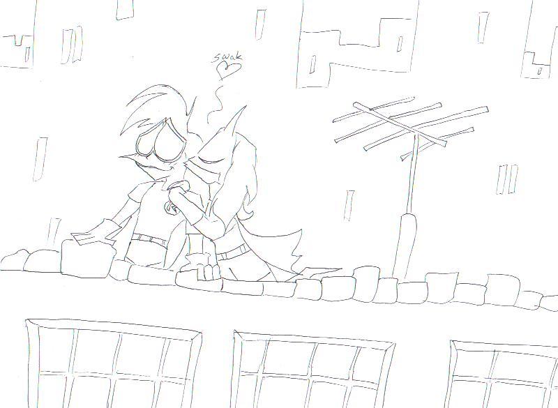 Batgirl and robin kiss drawing - photo#20