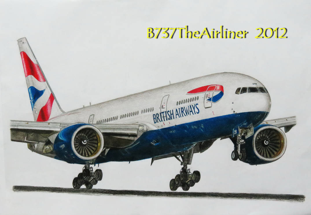 British Airways Boeing 777 - Realistic Drawing by A320TheAirliner on