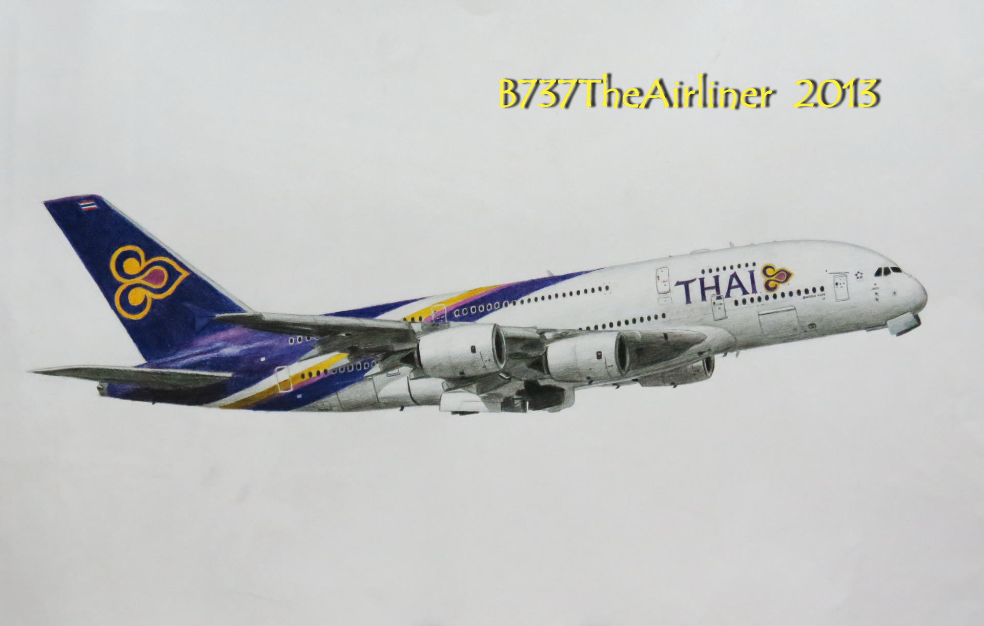 Thai Airways Airbus A380 Realistic Drawing By A320theairliner On