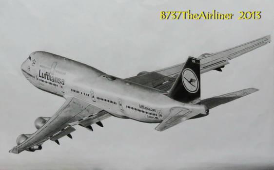 Lufthansa Boeing 747-400 - Realistic Drawing