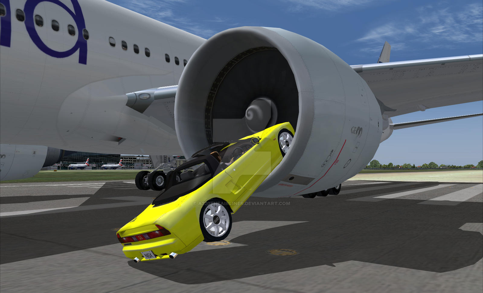GE90 Eats my Sports Car! by B737TheAirliner