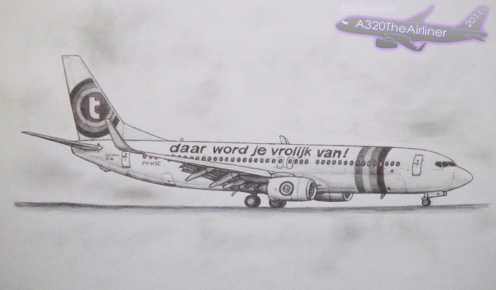 Transavia Boeing 737 800 Pencil Drawing 2011 Art By