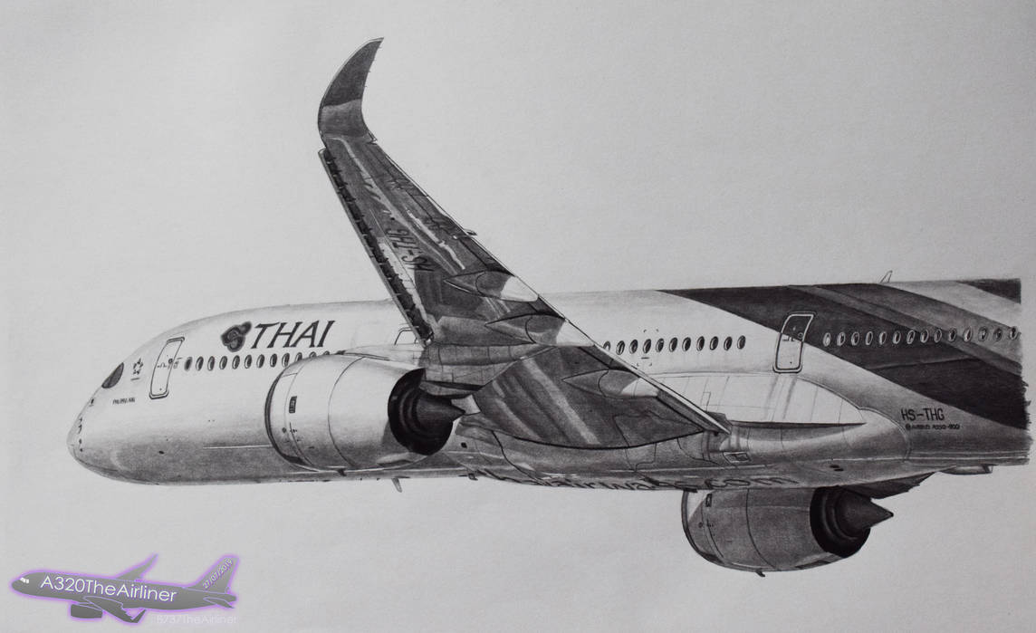 Thai Airways Airbus A350 - Realistic Drawing by A320TheAirliner on