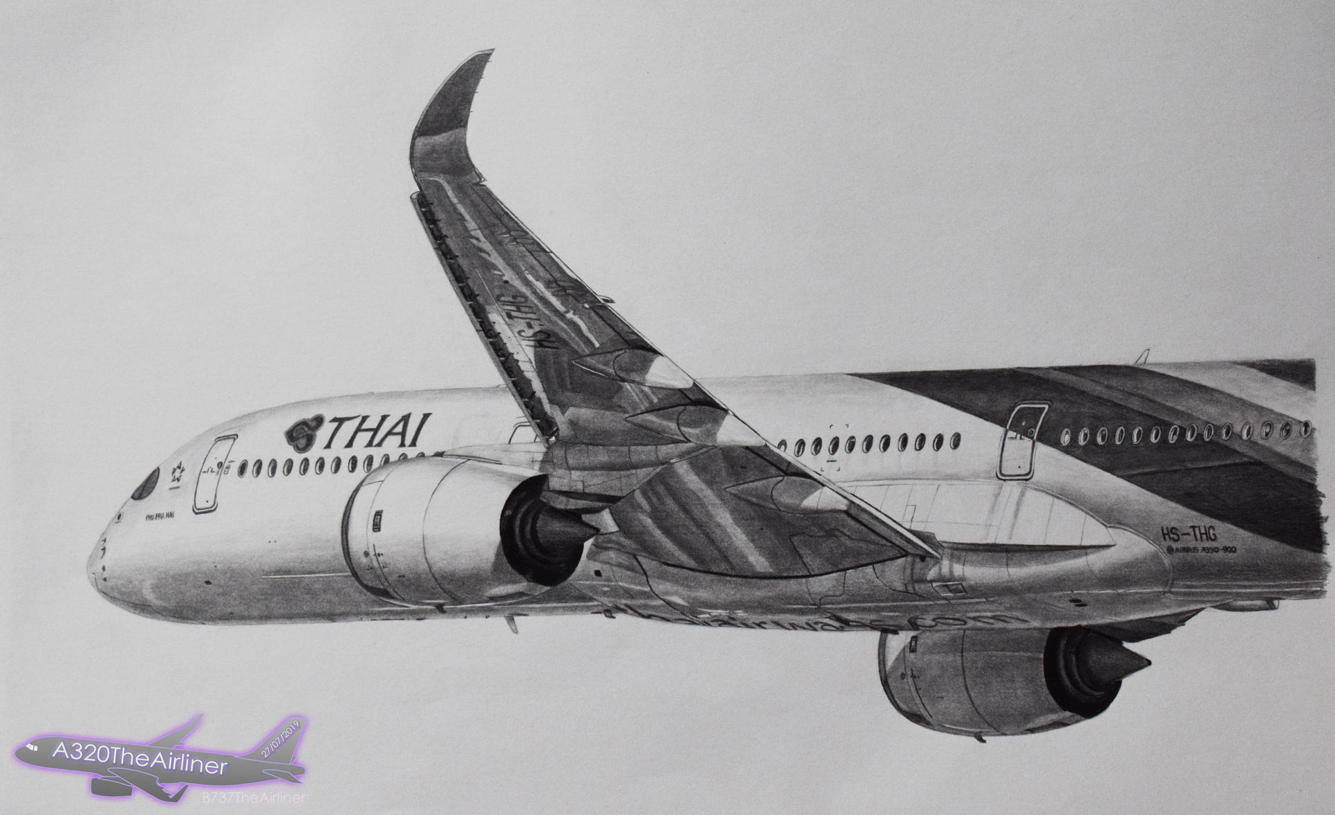 Thai Airways Airbus A350 Realistic Drawing By A320theairliner On