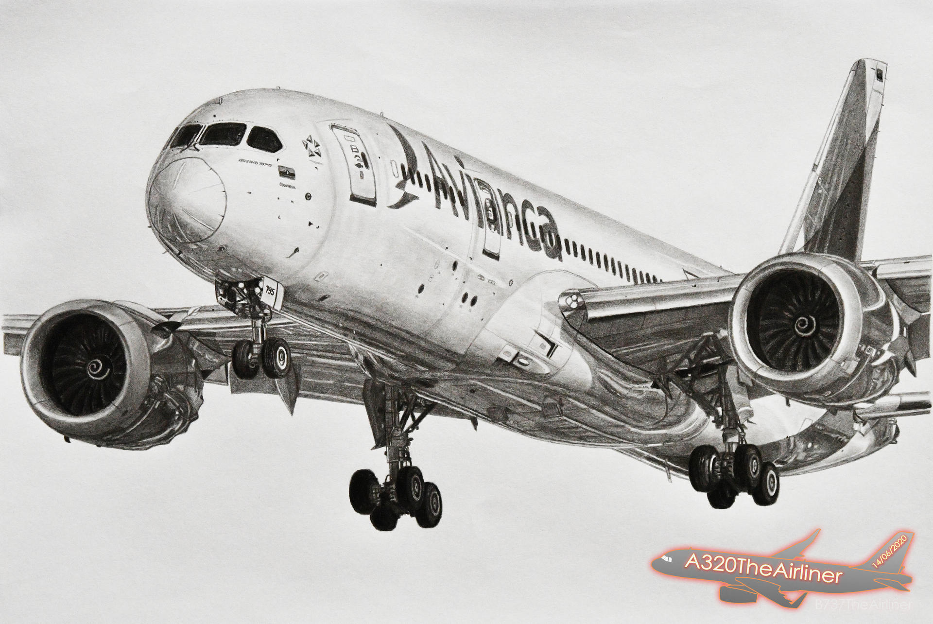 Avianca Boeing 787 8 Realistic Pencil Drawing By