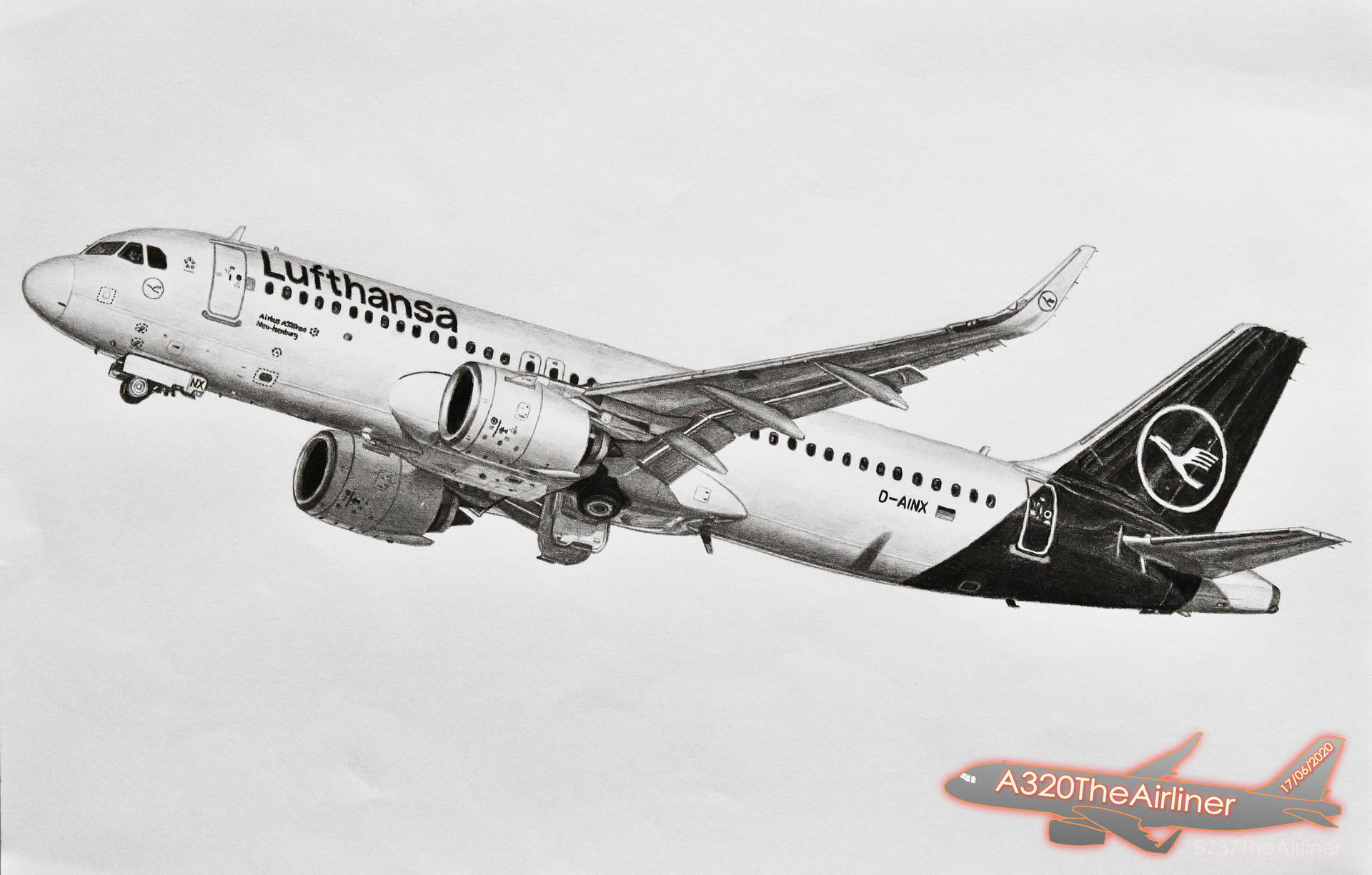 Lufthansa Airbus A320neo Realistic Drawing A4 By