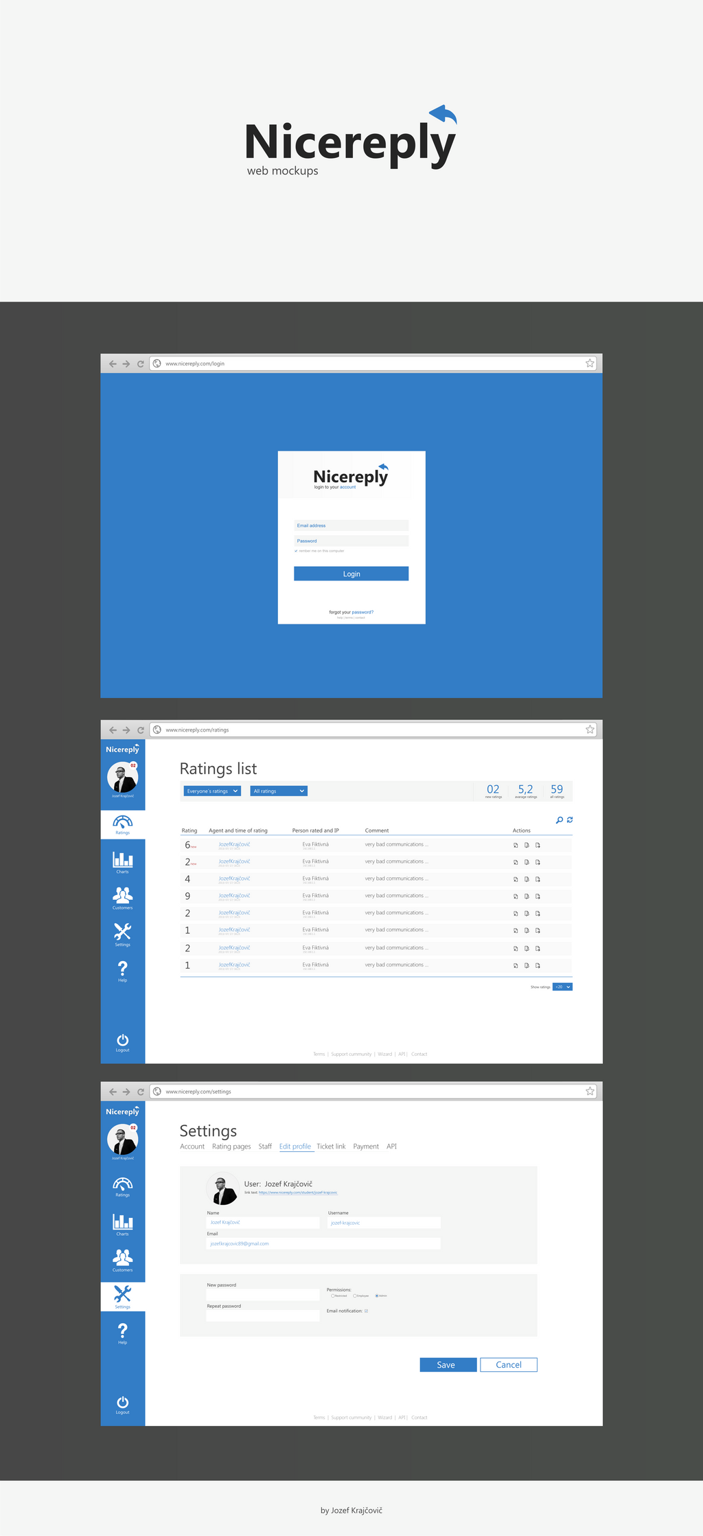 My idea of web UI for nicereply