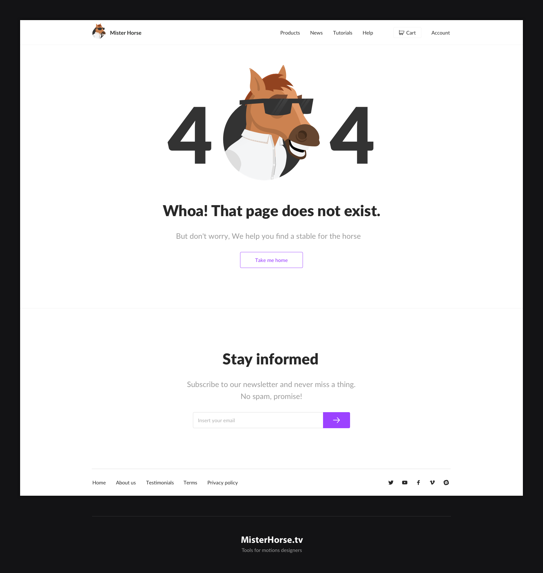 404 for Mister Horse.tv by jozef89