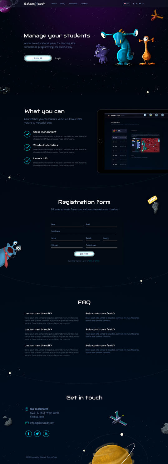 Landing page for a techear - Galaxycodr by jozef89