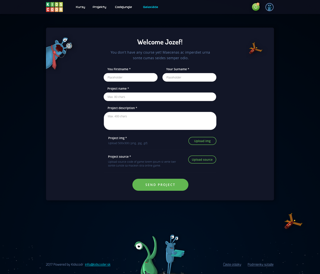 Upload form for project Galaxiada by jozef89