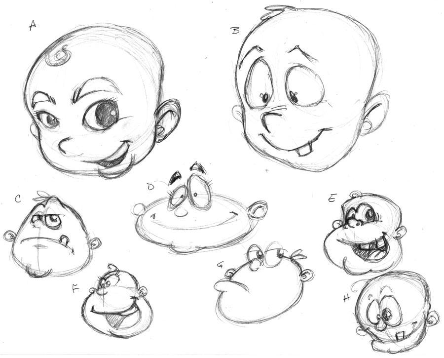 Baby Huey Logo Sketches by plnstgfx