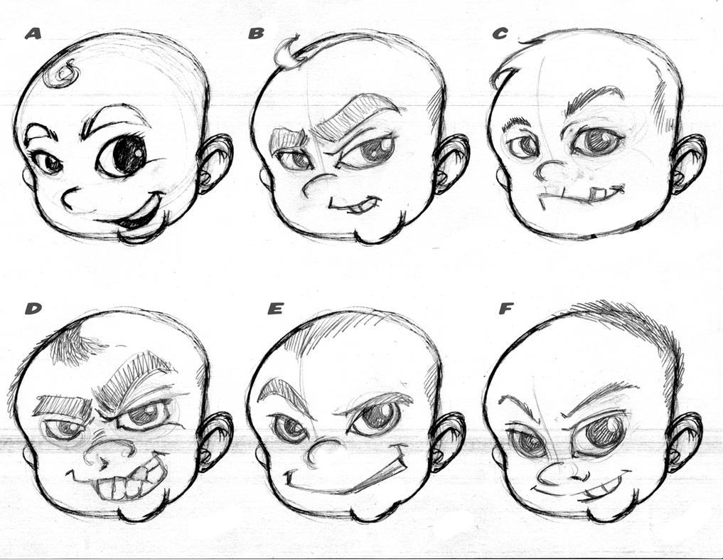 Baby Huey Logo Sketches 2 by plnstgfx