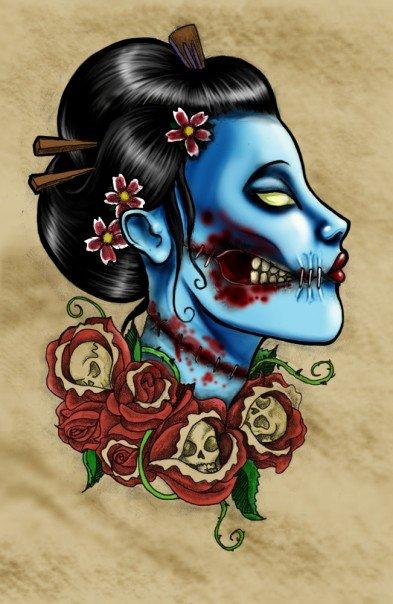 zombie geisha by Rachel-Lige