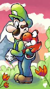 Luigi and red baby Yoshi