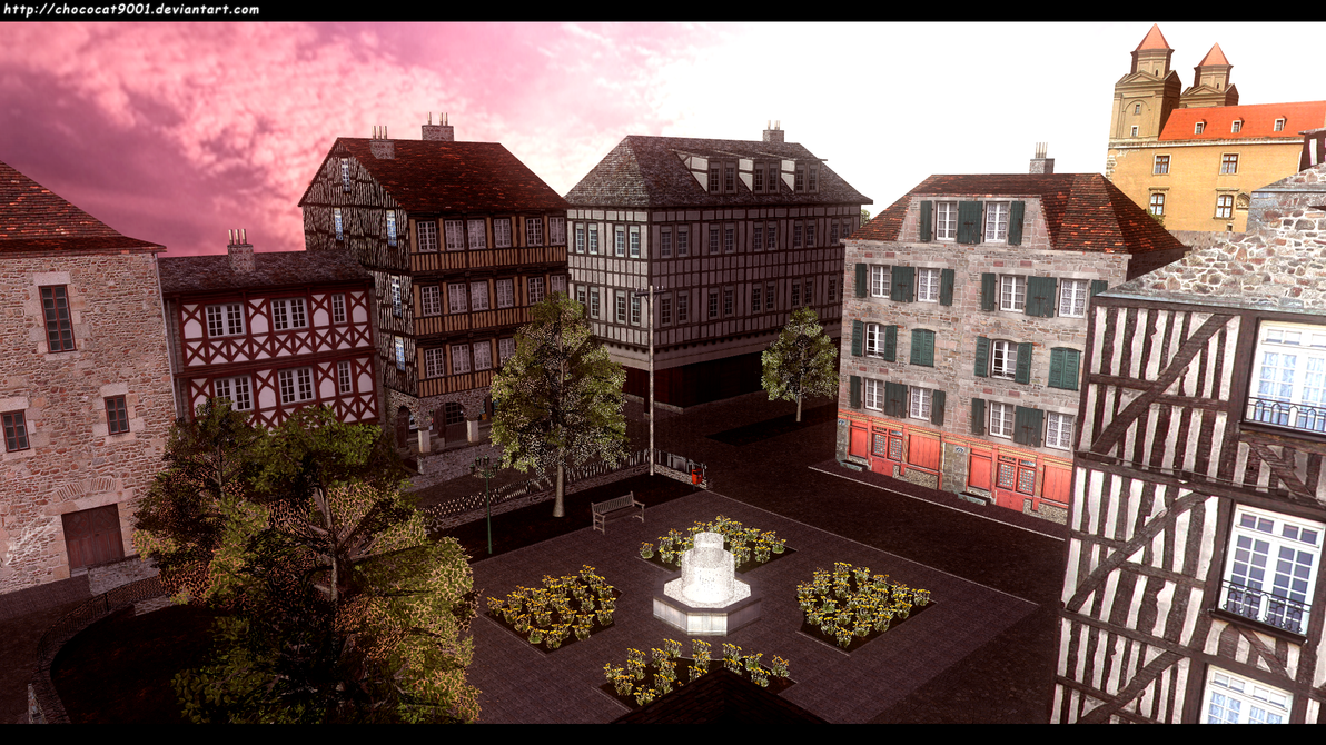 Old Town Square - MMD stage DL by chococat9001
