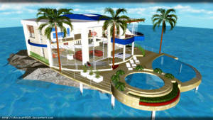 Vacation house in Ocean - MMD Stage DL by DiemDo-Shiruhane