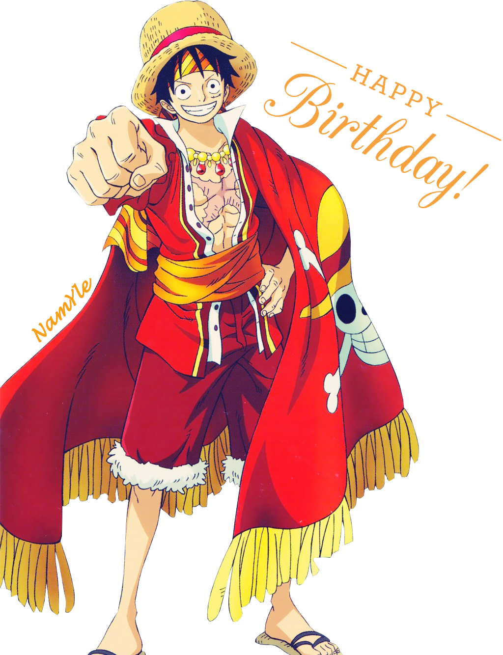 Birthday Calendar One Piece : Happy birthday to luffy render by namyle on deviantart