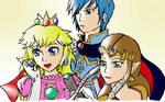 SSBB Peach, Marth and Zelda