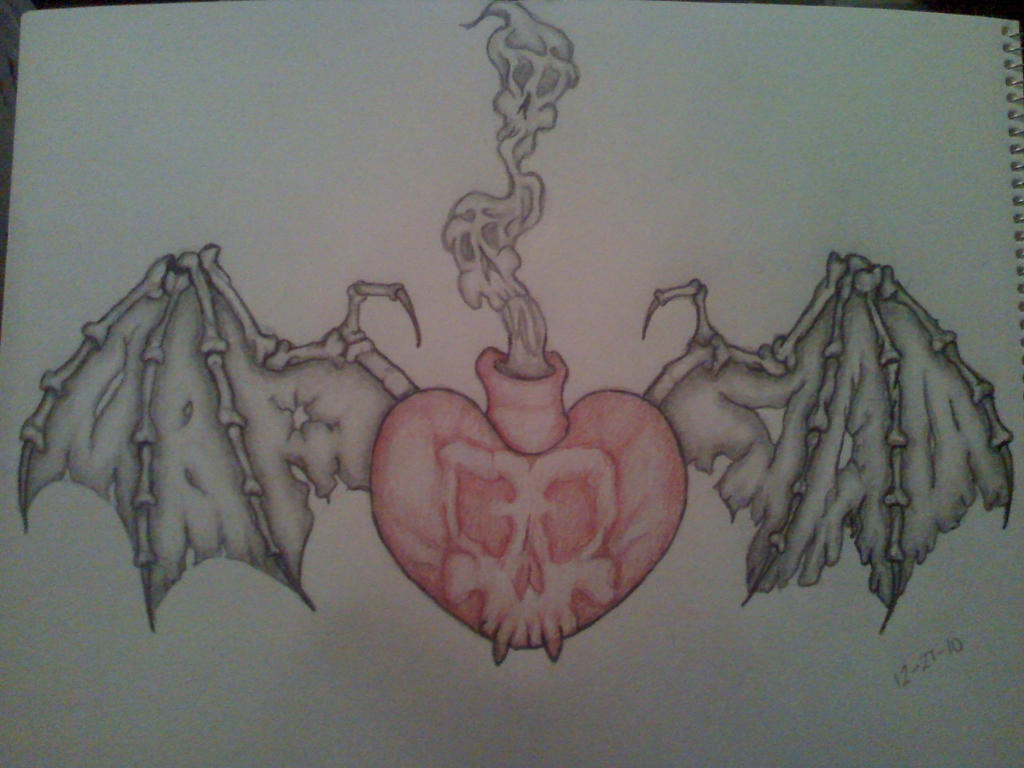 psycobilly heart chest piece - chest tattoo