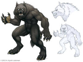 Snarly Werewolf Design by kyoht