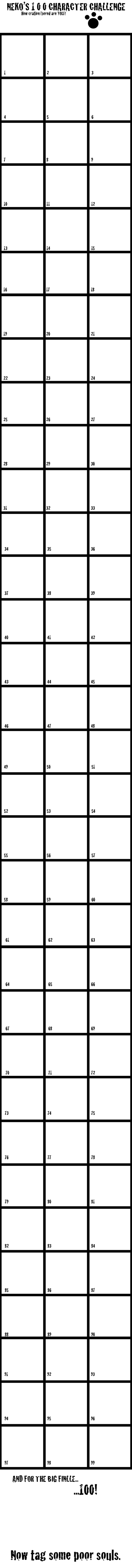 100 Characters Challenge by nekokyuuketsuki